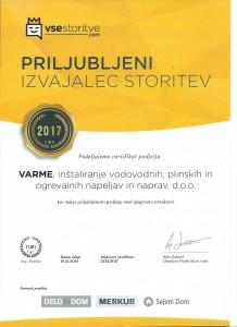 Varme d.o.o. - Priljubljen izvajalec 2017